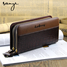SANYI Men Wallets Black/Brown Luxury Large Capacity Gift Male Double Zipper Long Handbag Purse Solid Casual Boss Coin Wallets