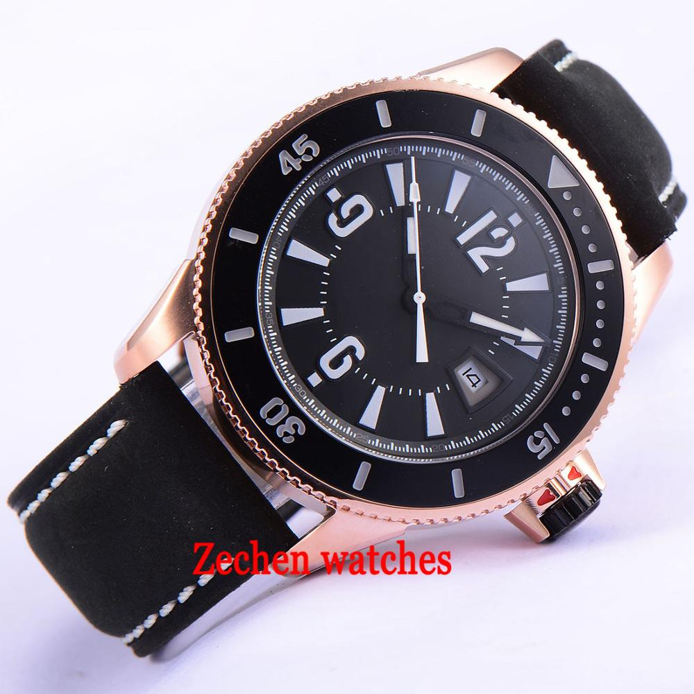 лучшая цена 43mm BLIGER mens watch miyota movement black white dial auto date ceramic bezel 21 jewels miyota automatic mens watch