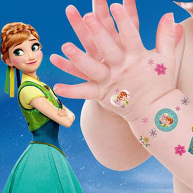 בנות קפוא אלזה ואנה איפור צעצוע שעון קעקוע מדבקות דיסני לבן נסיכת סופיה מיקי מיני מקרר כוס מדבקה