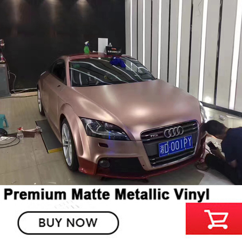 best Satin rose gold Vinyl Car Wrap Film With Air release For Vehicle Wrapping Cover matte metallic Vinyl German glue 1.52*20m стоимость