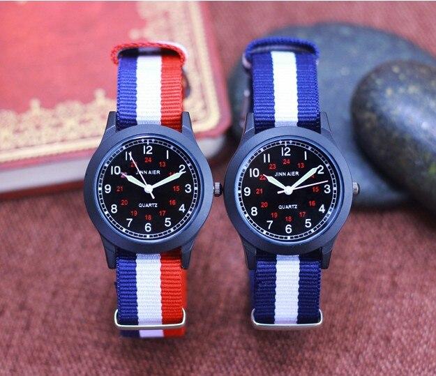 New Arrived Brand JNNAIER Boy Fashion Sports Nylon Watch Promotion Kids Luminous Pointer Quartz Watch Girls Casual Watch
