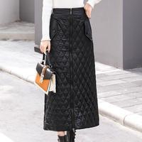 plus size 5XL Women Winter Skirts Front Zipper High Waist Warm Down Cotton Winter Snow Skirt Long SKIRT