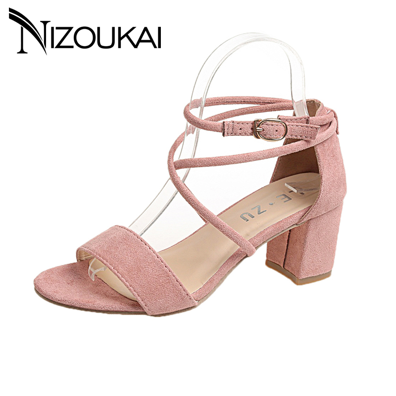 Ladies Shoes 2018 new Summer Gladiator Sandals Women High Heels Sandals Party Wedding square heel Shoes Ladies Sandals royyna new sweet style women sandals cover heel summer gingham women shoes casual gladiator ladies shoes soft fast free shipping