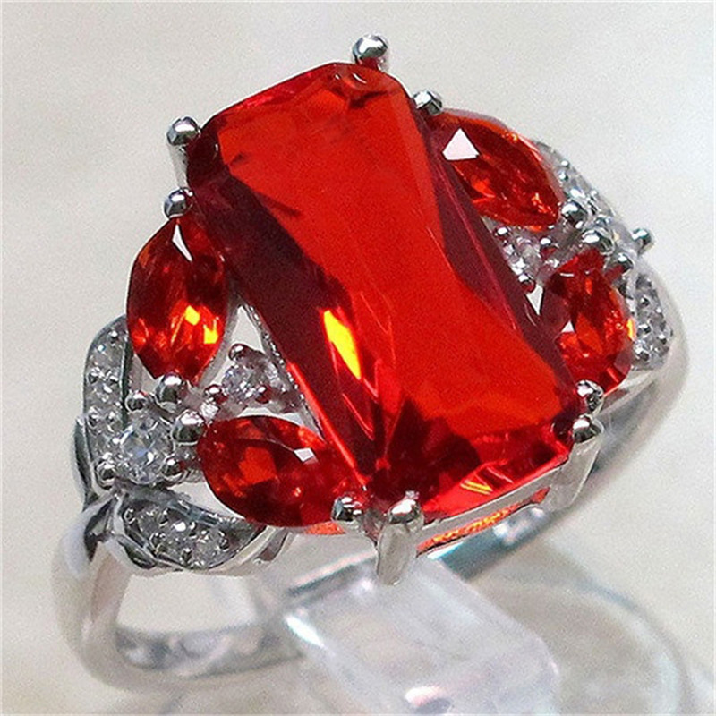 Luxury Ruby Agate 6 Ct Big Red Square Cut Shining AAA Zircon Ring With Large CZ Stones Ring For Women Fashion Jewelry Rings