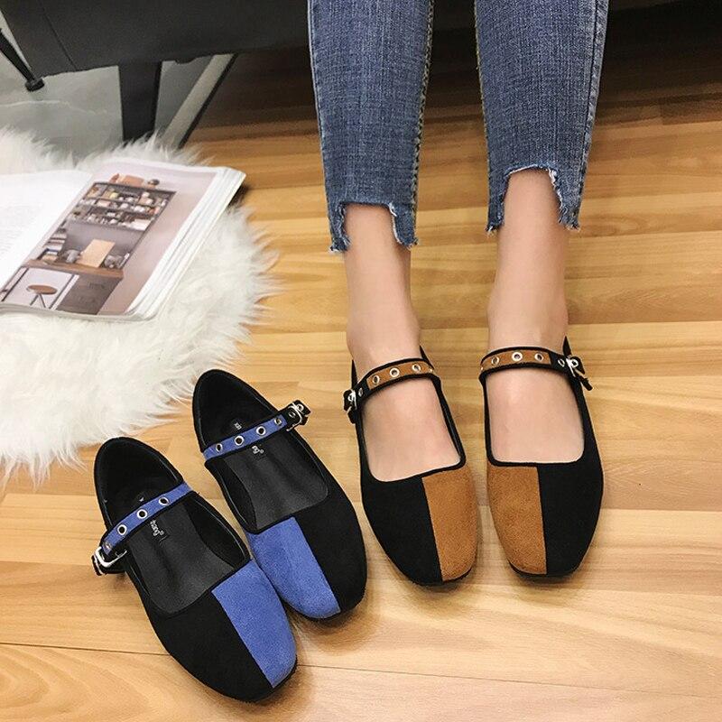 Mocasines Pie Dedo Brown Color Zapatos Black Mezclado Hebilla Cuadrado  Gamuza Planos Diapositivas Mujer Blue black ... 7ab7379f2b8a