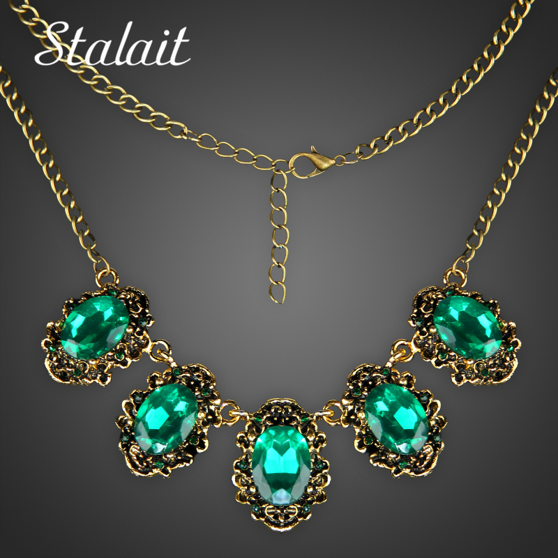 Trendy Women Vintage Green Crystal Maxi Antique Bronze Color Statement Necklace Pendants Jewelry For Party Gift