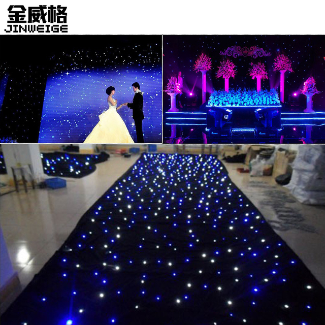 Free Shipping 3mx5m Led Star Cloth Wedding Backdrop Bw