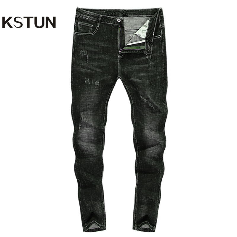 KSTUN Men Jeans 2018 Famous Brand Stretch Slim Autumn Winter Ripped Runway Broeken Mannen Motocycle Jean Skinny Homme Pantalon