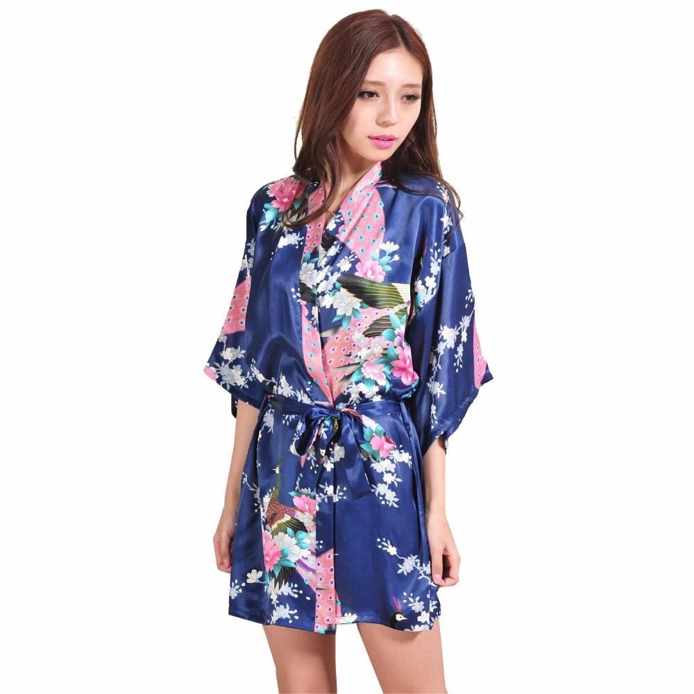 Navy Blue Chinese Female Silk Robe Dress Sexy Mini Kimono Yukata Gown Flower&Peacock Mujer Pijama S M L XL XXL XXXL NR103