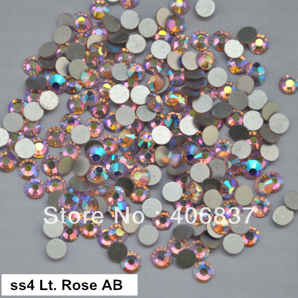 Free Shipping! 1440pcs/Lot, ss4 (1.5-1.7mm) Light Rose AB Flat Back Nail Art Glue On Non Hotfix Rhinestones