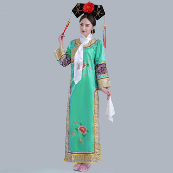 High Quality Qing Dynasty Dramaturgic Dress Women Chinese Traditional Ancient Infanta Costume Peri Theatrical Robe Dande Wear new arrival film performance wear blue embroidered dragon brocade the qing dynasty prince clothes chinese ancient costume male