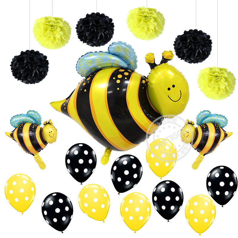 19pcs Bee Ladybug Foil Balloons Paper Flowers Polka Dot Latex ballon Baby Shower Wedding Birthday Party Decorations Kids Gifts
