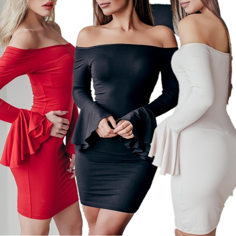 summer Europe and the United States explosion models new women's dresses Horn Sleeve Solid Color Sexy Slim Dress Bag Hip Dress