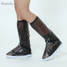 лучшая цена Rouroliu Women Men Cycling Waterproof Shoes Covers Knee-high Reusable Slip-resistant Overshoes Rain Boots Large Sizes FR71