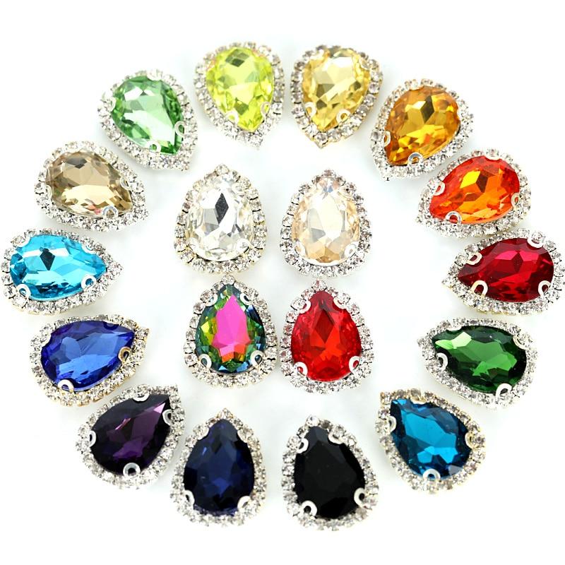 30 Colors 20PCS Teardrop Glass Sew On Rhinestones With Buckle Edge 13x18mm Flatback Crystal Sewing Rhinestone For Garment B0716