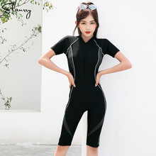 2018 Newest One Piece Sport Swimsuit Professional Beach Surfing Suits Short Sleeves Wear Women Summer Bathing