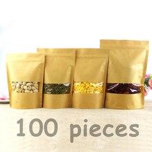 Пакеты из крафт бумаги с замком на молнии, 100 шт.