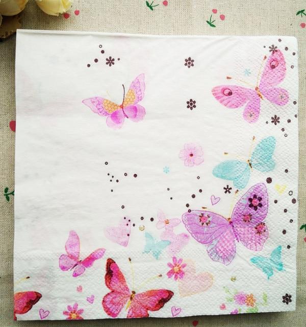 Tavolo Del Tessuto Tovaglioli Di Carta Stampata Cuore Della Farfalla