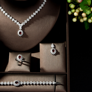 Image 3 - HIBRIDE Fashion Simple AAA Cubic Zirconia Crystal Women Earrings Necklace Set for Brides Wedding Costume Jewelry Set N 329
