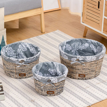 цены на Rattan storage box desktop fabric basket straw snack basket woven storage box round cat litter finishing basket  в интернет-магазинах