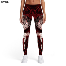 KYKU Brand Skull Leggings Women Punisher Trousers War 3d Print Punk Ladies Gothic Leggins Womens Pants Casual Fashion