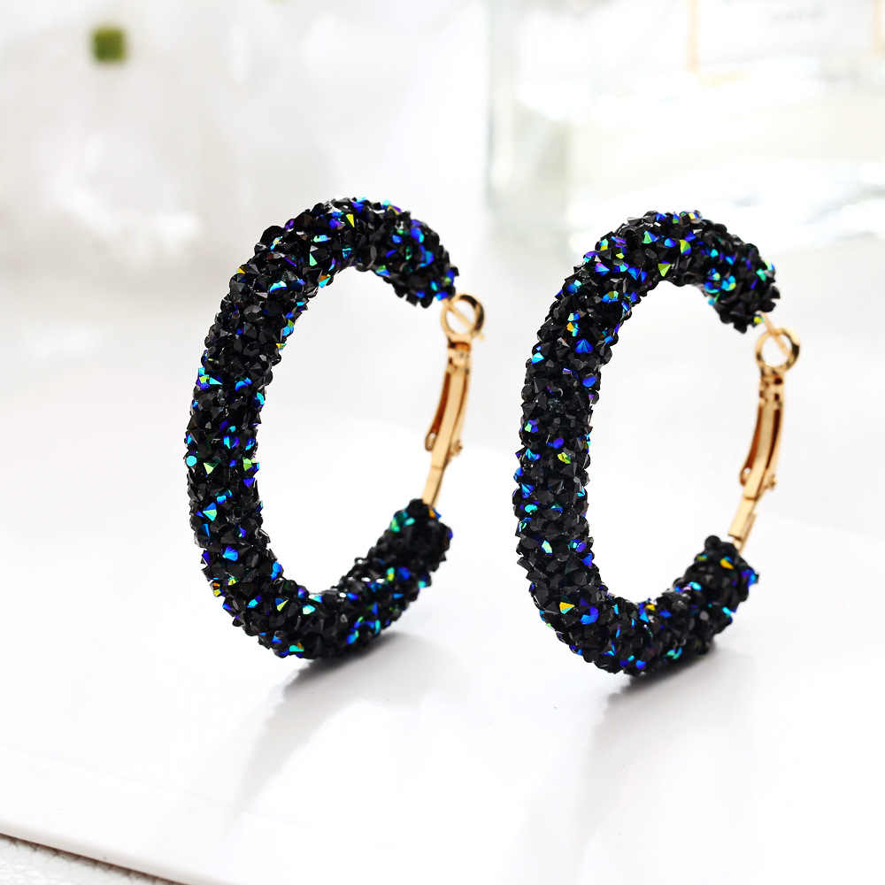 Crystal Hoop Earrings for Women 2018 New Round Rhinestone Big Earring Female Fashion Charm Pendientes Jewelry For Female