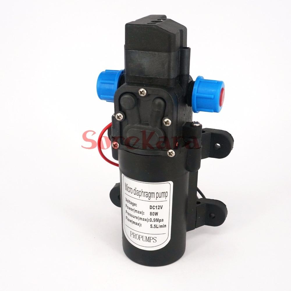 DC 12 V/24 V 80 W micro diafragma bomba de agua de refuerzo autoaspirante interruptor automático 330L /h para jardín