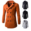 Nens Double Breasted Trench Coat 2016 Homens Lazer Tops Brasão Outono Inverno Sólidos Turn-down Collar Bolso Mens Longos trench Coat