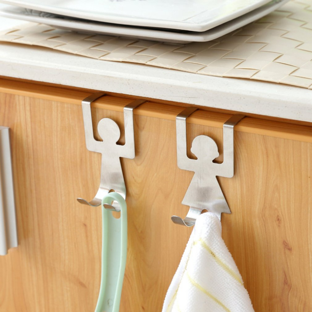 2Pcs/set Stainless Steel Lovers Shaped Hooks House Kitchen Pot Pan Hanger Clothes Storage Rack Tool
