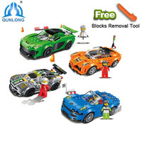 Qunlong 0706 Toys Racing Car Building Blocks 4 Style Educational Action Figures Compatible Legoe City Bricks