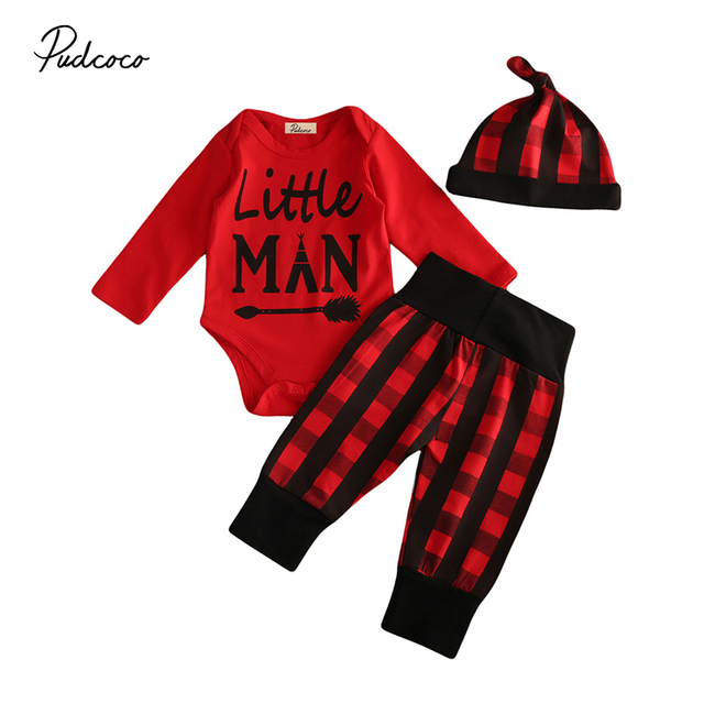 088352757ff7 Little Man Newborn Baby Boy Clothes Long Sleeve Romper Tops+Red ...