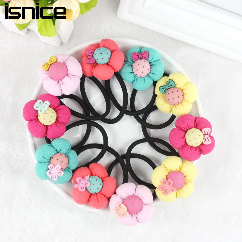 isnice Pumpkin flowers children girls hair accessories rubber bands barrettes girl headwear Retail wholesale Boutique