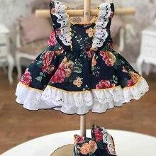 3 uds. Vestido de fiesta de princesa Lolita Vintage con flores de pavo para primavera y verano para niñas vestido con pantalones de algodón