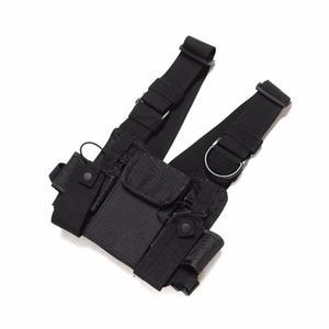 Image 4 - Nylon Tactical Chest Bag Holster Pouch 3 pockets Adjustable for Yaesu Baofeng UV 5R uv5r uv 82 uv82 Walkie Talkie iPhone Samsung