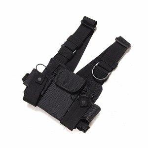 Image 4 - Nylonowa taktyczna torba na klatkę piersiowa kabura 3 kieszenie regulowane dla Yaesu Baofeng UV 5R uv5r uv 82 uv82 Walkie Talkie iPhone Samsung