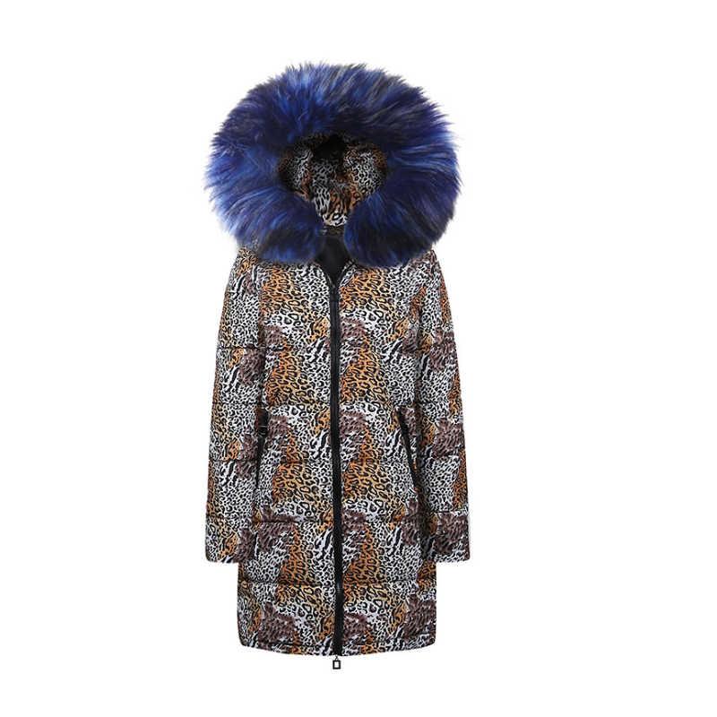 معطف الشتاء النساء 2018 ParkaOversize سترة فام سترة Manteau فام Hiver ليوبارد النساء ستر كبيرة الفراء الشتاء معطف سترة