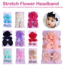 Lovely on sale 3 pc baby girl boy elastic flower headband children Bow knot hair Band