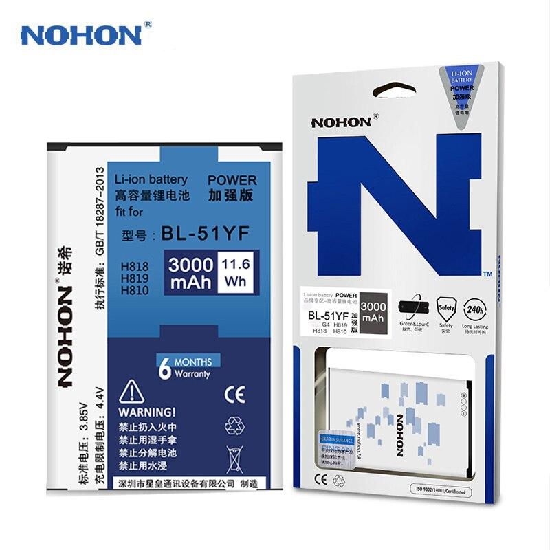 imágenes para Batería Para LG G4 originales NOHON H818 H815 H819 H810 BL-51YF Bateria Recargable Li-ion Batería Interna 3000 mAh de Alta Capacidad