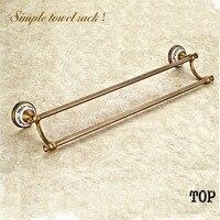 61cm Antique Towel Bar Double Rail Porcelain Double Bronze Towel Barbrass Bath Hardware Towel Rack