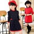 Kids autumn and winter woolen girl dress thicken winter dress long sleeve casual dress kids clothes children clothing