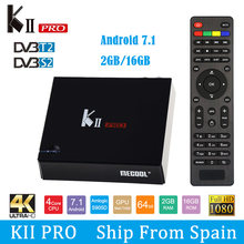 MECOOL KII PRO Android 7.1.1 Boîte de TÉLÉVISION DVB-S2 DVB-T2 K2 PRO Amlogic S905D Quad Core 2G16G 4K Cline NEWCAMD 2.4/5 GHz Wifi Double(China)