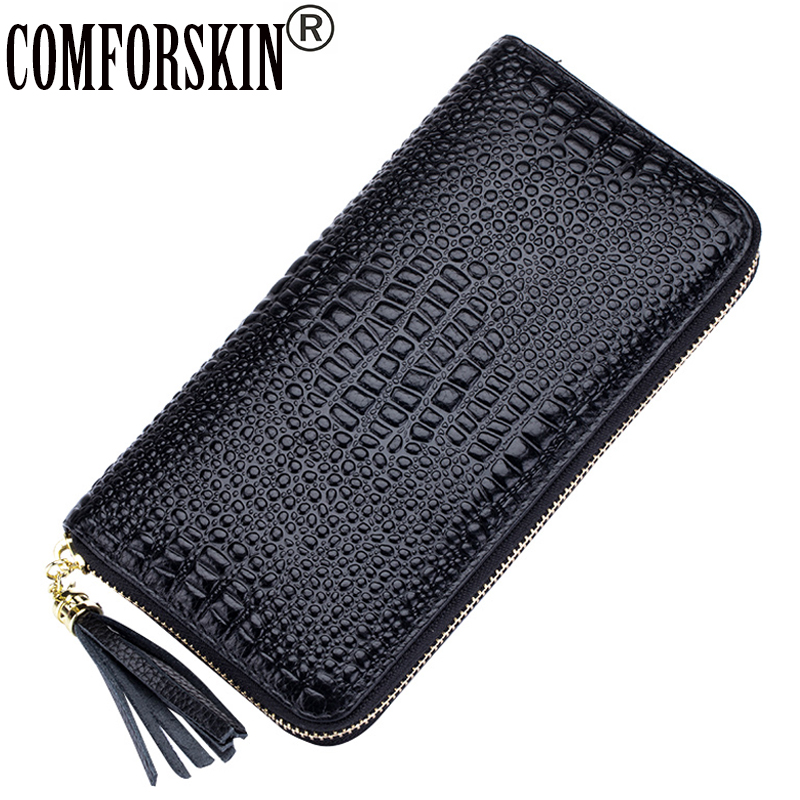 COMFORSKIN Fashion Crocodile Pattern Zipper European And American Luxurious Genuine Leather Women's Wallets Long Female Purses