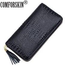 Comfortskin cartera de piel auténtica con cremallera para mujer, billetera larga con estampado de cocodrilo, estilo europeo y americano