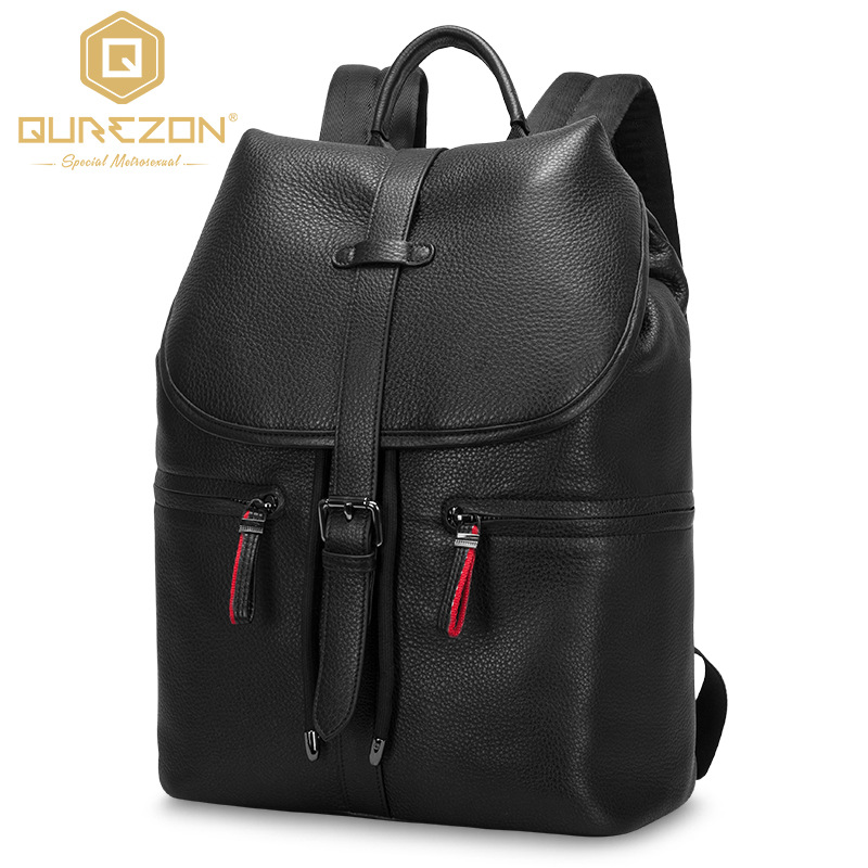 2017 NEW Qurezon Brand 14.9 Inch Laptop Bag Backpack Men Large Capacity Genuine Leather Backpacks Men's Leisure Travel Bagpack 2017 xqxa brand 15 6 inch laptop bag backpack men large capacity oxford compact men s 17inch backpacks unisex women bagpack