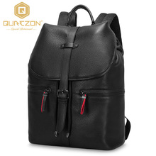 2017 NEW Qurezon Brand 14.9 Inch Laptop Bag Backpack Men Large Capacity Genuine Leather Backpacks  Men's Leisure Travel Bagpack