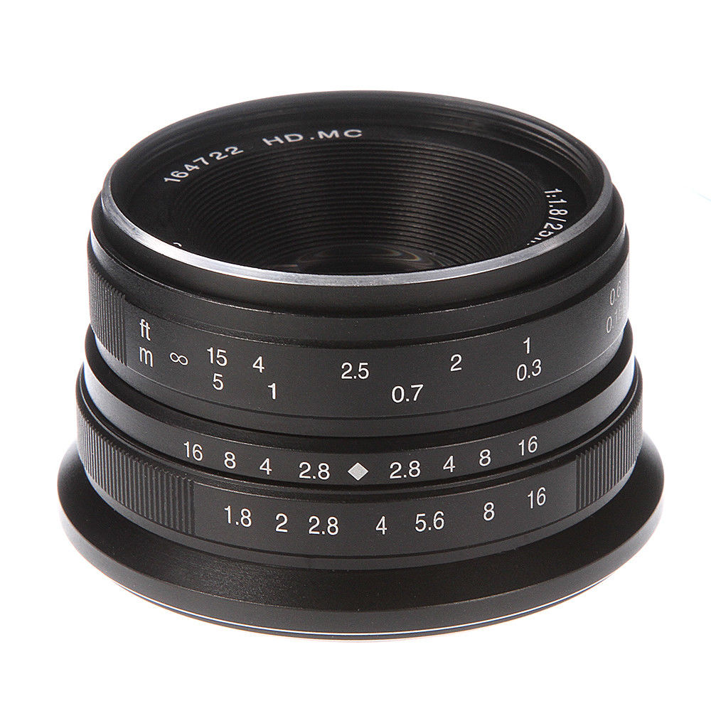 25mm F/1.8 HD MC Manual Focus Prime Lens for Fuji X-A1/A2 X-T1/T2/T10/T20 X-E1/E2 X-Pro1/Pro2 Silver/Black