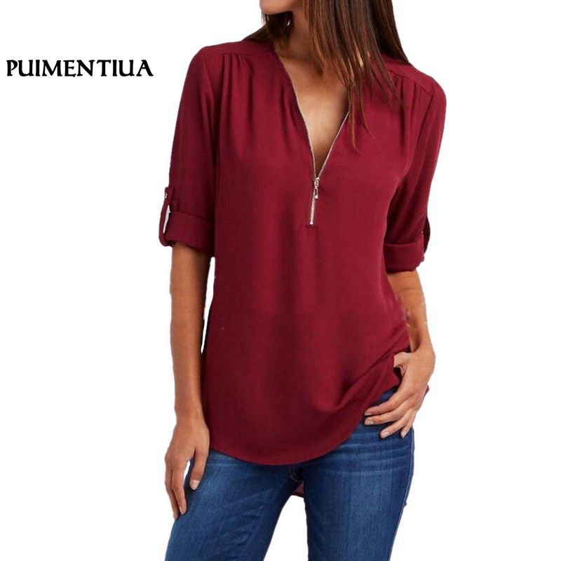 Puimentiua Women Chiffon   Blouse   2018 Summer Elegant V Neck Zipper   Blouse     Shirts   Loose Casual Tops Blusas Camisas Mujer Plus Size