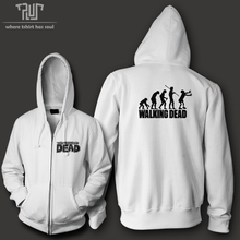 Free shipping the walking dead evolution men woman unisex zip up hoodie 10.3oz weight organic fleece cotton quality sweatershirt