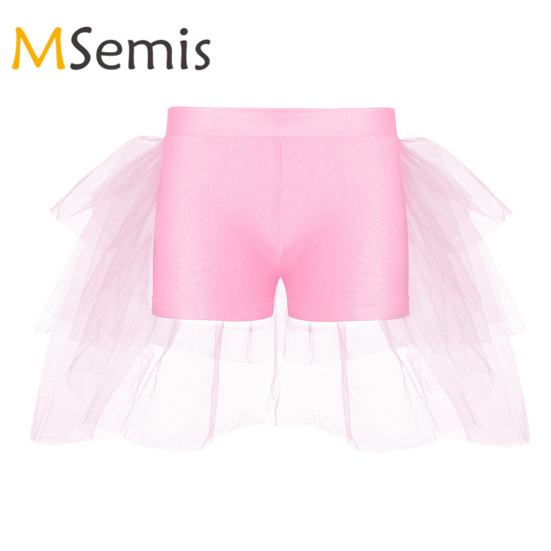 Mother & Kids Hearty Kids Girls Ballet Shorts Bottoms With Attached Bustle Tiered Mesh For Ballet Dance Stage Performance Gymnastics Swimsuit Dancing