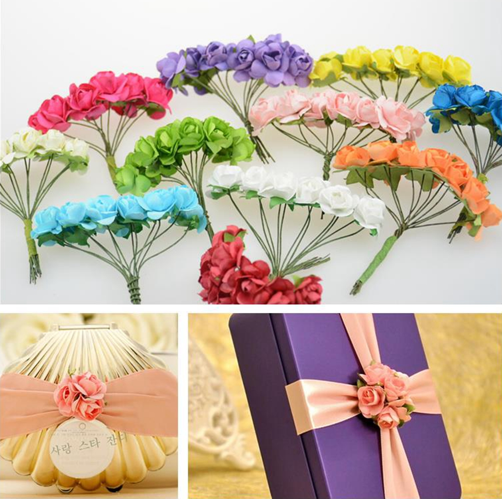 12pcs lot mini paper rose rose handmake for Artificial flowers for wedding decoration